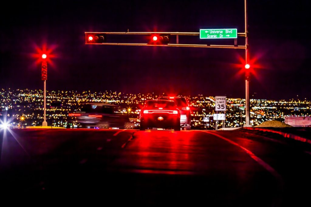 Car at a Stoplight in Rio Rancho at night